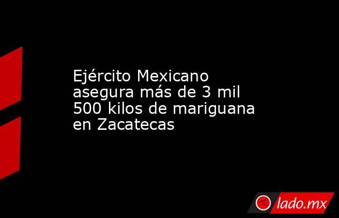 Ejército Mexicano asegura más de 3 mil 500 kilos de mariguana en Zacatecas. Noticias en tiempo real