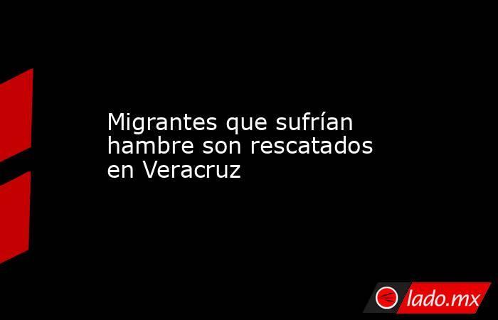 Migrantes que sufrían hambre son rescatados en Veracruz. Noticias en tiempo real