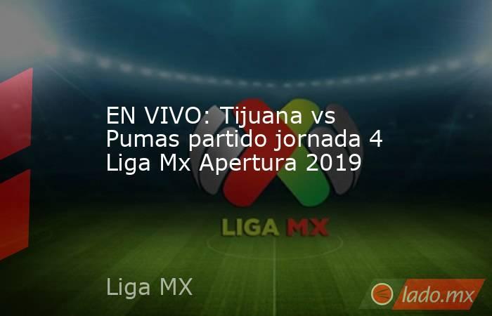EN VIVO: Tijuana vs Pumas partido jornada 4 Liga Mx Apertura 2019. Noticias en tiempo real
