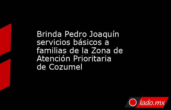 Brinda Pedro Joaquín servicios básicos a familias de la Zona de Atención Prioritaria de Cozumel. Noticias en tiempo real