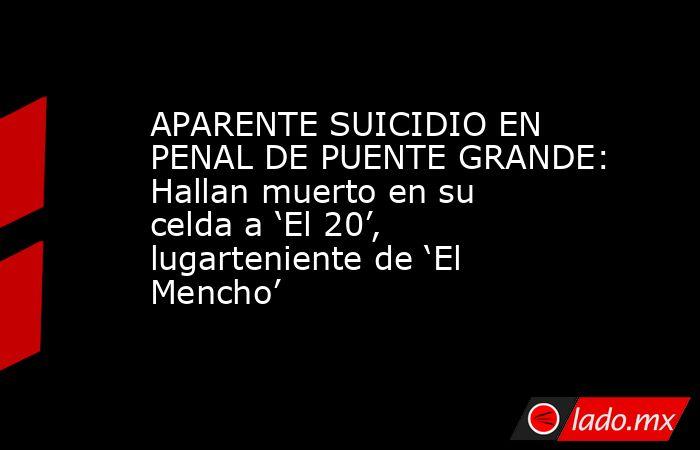 APARENTE SUICIDIO EN PENAL DE PUENTE GRANDE: Hallan muerto en su celda a 'El 20', lugarteniente de 'El Mencho'. Noticias en tiempo real