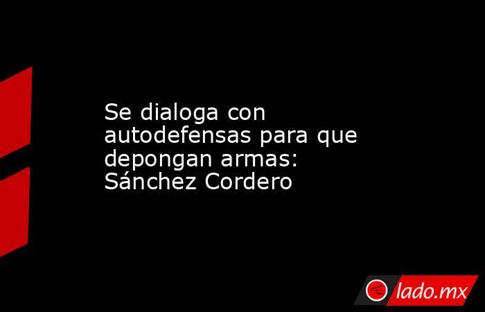 Se dialoga con autodefensas para que depongan armas: Sánchez Cordero. Noticias en tiempo real