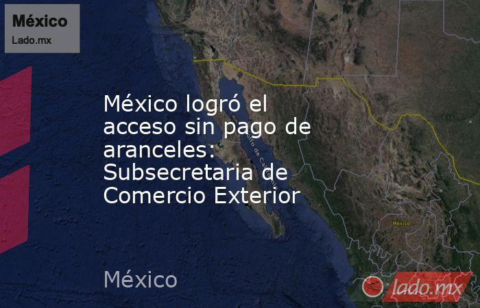 México logró el acceso sin pago de aranceles: Subsecretaria de Comercio Exterior. Noticias en tiempo real