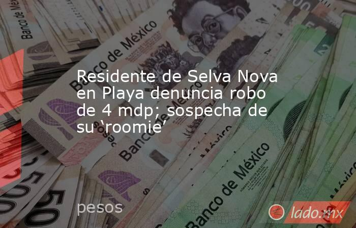 Residente de Selva Nova en Playa denuncia robo de 4 mdp; sospecha de su 'roomie'. Noticias en tiempo real