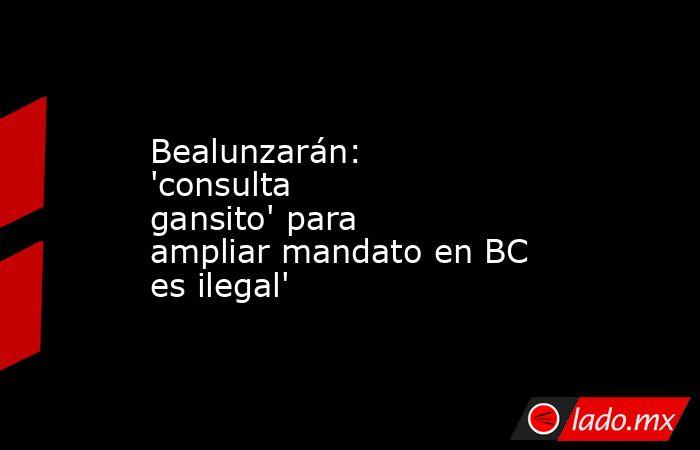 Bealunzarán: 'consulta gansito' para ampliar mandato en BC es ilegal'. Noticias en tiempo real