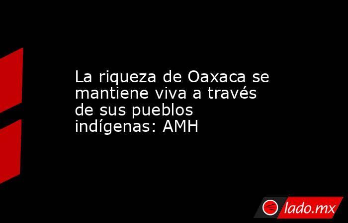 La riqueza de Oaxaca se mantiene viva a través de sus pueblos indígenas: AMH. Noticias en tiempo real