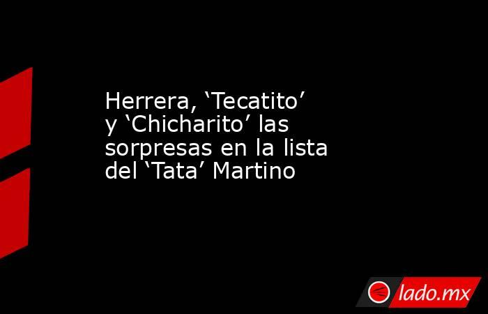 Herrera, 'Tecatito' y 'Chicharito' las sorpresas en la lista del 'Tata' Martino. Noticias en tiempo real