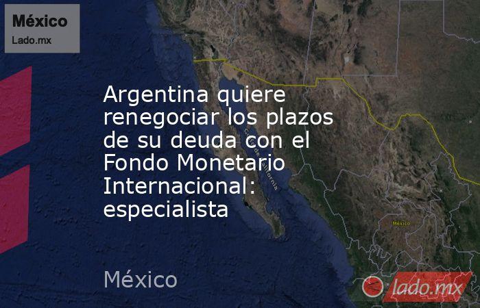 Argentina quiere renegociar los plazos de su deuda con el Fondo Monetario Internacional: especialista. Noticias en tiempo real