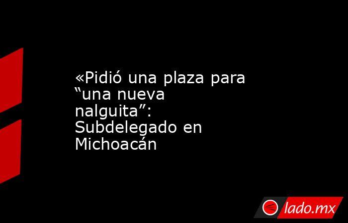 """«Pidió una plaza para """"una nueva nalguita"""": Subdelegado en Michoacán. Noticias en tiempo real"""