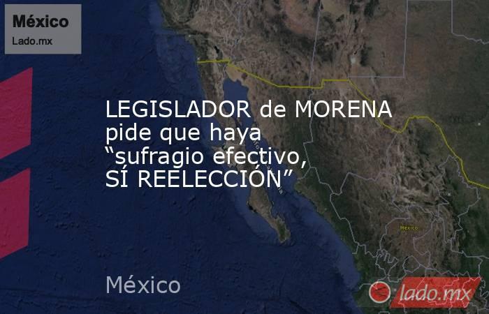 """LEGISLADOR de MORENA pide que haya """"sufragio efectivo, SÍ REELECCIÓN"""". Noticias en tiempo real"""