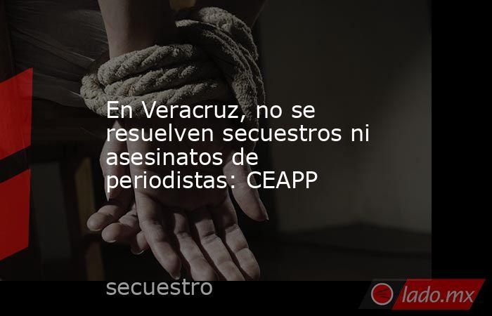En Veracruz, no se resuelven secuestros ni asesinatos de periodistas: CEAPP. Noticias en tiempo real