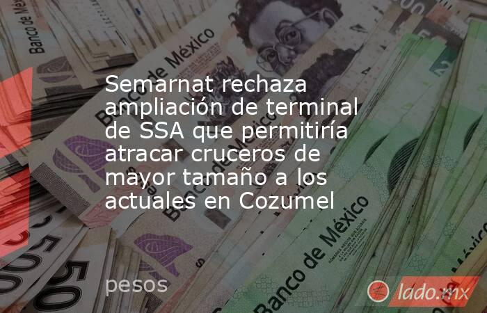 Semarnat rechaza ampliación de terminal de SSA que permitiría atracar cruceros de mayor tamaño a los actuales en Cozumel. Noticias en tiempo real