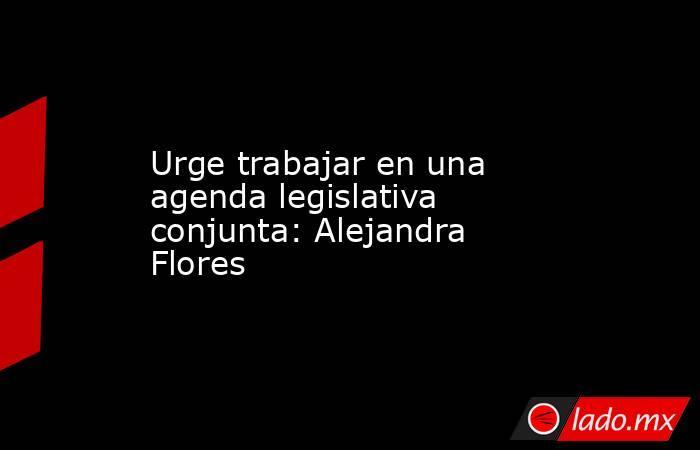 Urge trabajar en una agenda legislativa conjunta: Alejandra Flores. Noticias en tiempo real