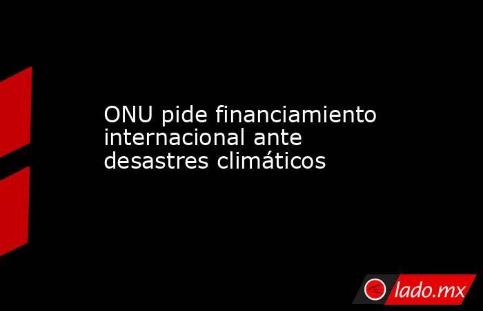 ONU pide financiamiento internacional ante desastres climáticos. Noticias en tiempo real