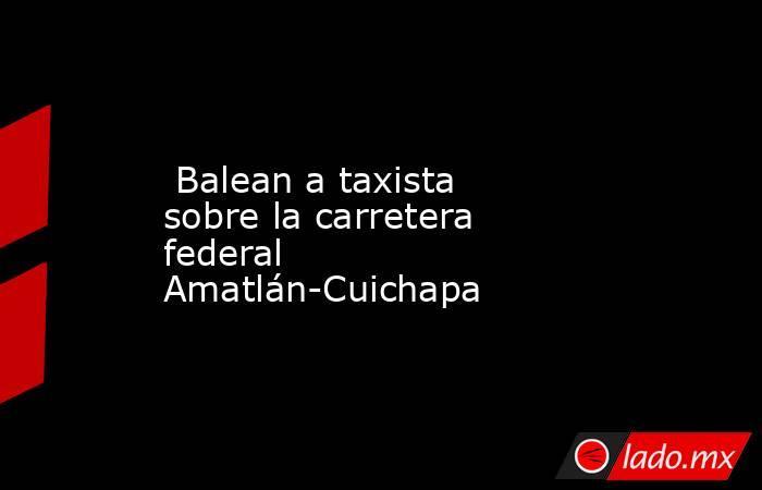 Balean a taxista sobre la carretera federal Amatlán-Cuichapa. Noticias en tiempo real