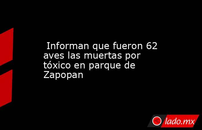 Informan que fueron 62 aves las muertas por tóxico en parque de Zapopan. Noticias en tiempo real