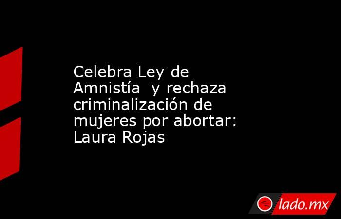 Celebra Ley de Amnistía  y rechaza criminalización de mujeres por abortar: Laura Rojas. Noticias en tiempo real