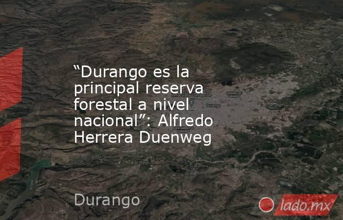 """""""Durango es la principal reserva forestal a nivel nacional"""": Alfredo Herrera Duenweg . Noticias en tiempo real"""