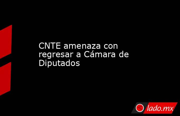 CNTE amenaza con regresar a Cámara de Diputados. Noticias en tiempo real