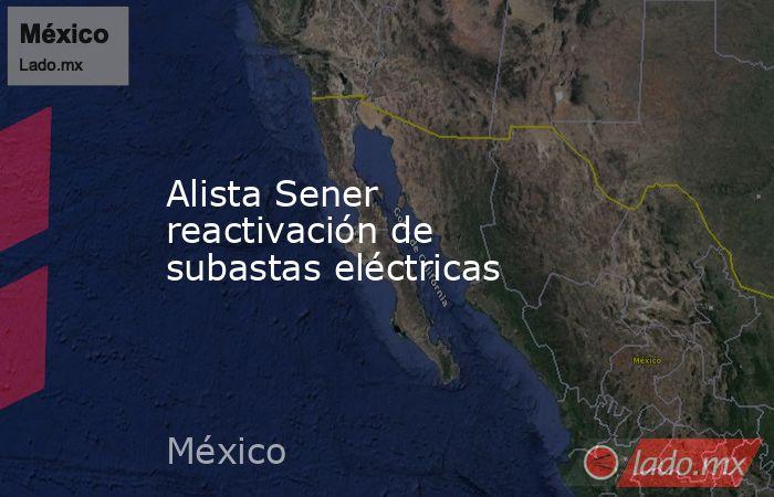 Alista Sener reactivación de subastas eléctricas. Noticias en tiempo real