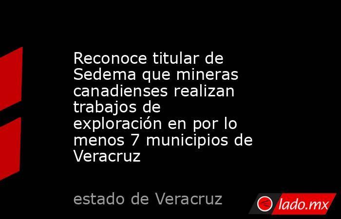Reconoce titular de Sedema que mineras canadienses realizan trabajos de exploración en por lo menos 7 municipios de Veracruz. Noticias en tiempo real