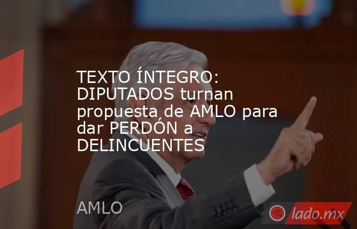 TEXTO ÍNTEGRO: DIPUTADOS turnan propuesta de AMLO para dar PERDÓN a DELINCUENTES. Noticias en tiempo real