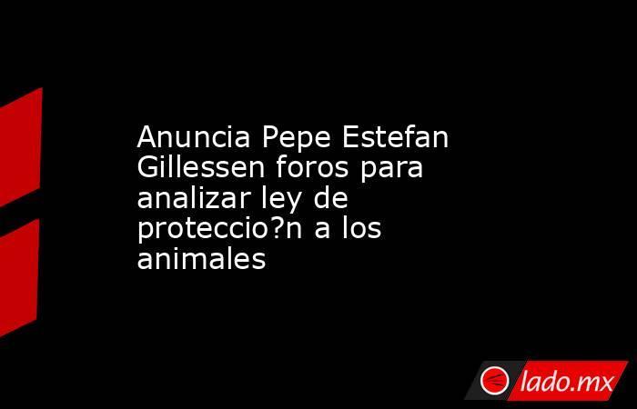 Anuncia Pepe Estefan Gillessen foros para analizar ley de proteccio?n a los animales. Noticias en tiempo real