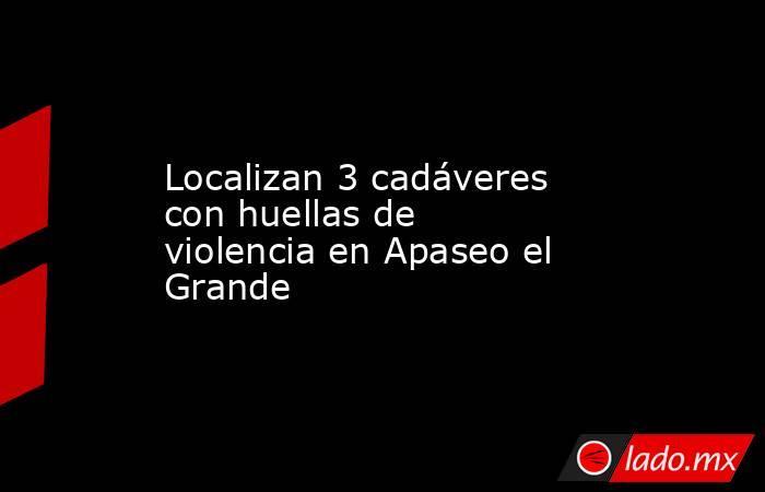 Localizan 3 cadáveres con huellas de violencia en Apaseo el Grande. Noticias en tiempo real