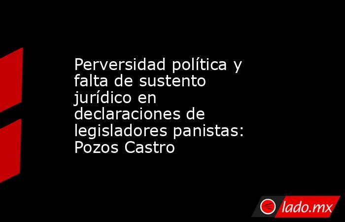 Perversidad política y falta de sustento jurídico en declaraciones de legisladores panistas: Pozos Castro   . Noticias en tiempo real