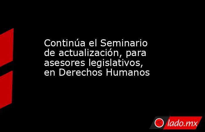 Continúa el Seminario de actualización, para asesores legislativos, en Derechos Humanos. Noticias en tiempo real