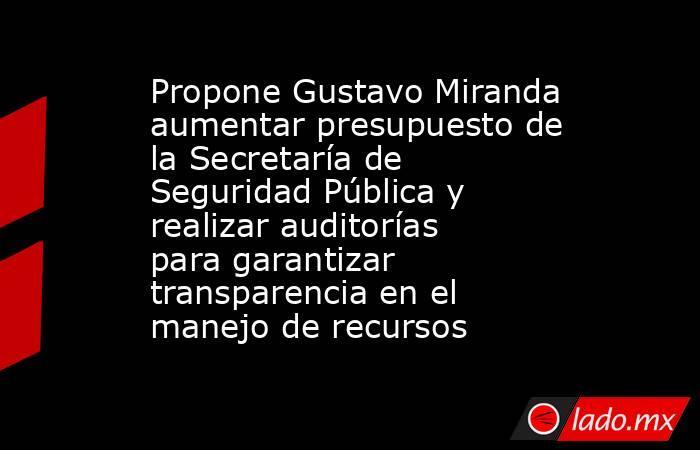 Propone Gustavo Miranda aumentar presupuesto de la Secretaría de Seguridad Pública y realizar auditorías para garantizar transparencia en el manejo de recursos. Noticias en tiempo real