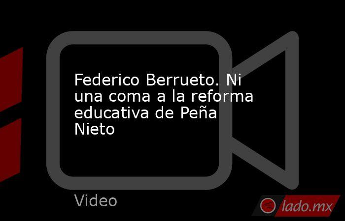 Federico Berrueto. Ni una coma a la reforma educativa de Peña Nieto. Noticias en tiempo real