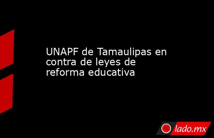 UNAPF de Tamaulipas en contra de leyes de reforma educativa. Noticias en tiempo real