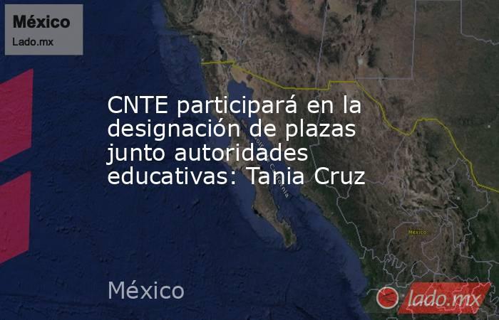 CNTE participará en la designación de plazas junto autoridades educativas: Tania Cruz. Noticias en tiempo real
