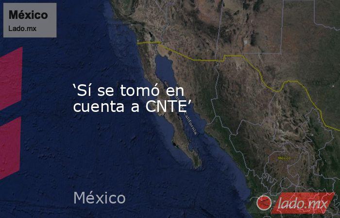 'Sí se tomó en cuenta a CNTE'. Noticias en tiempo real