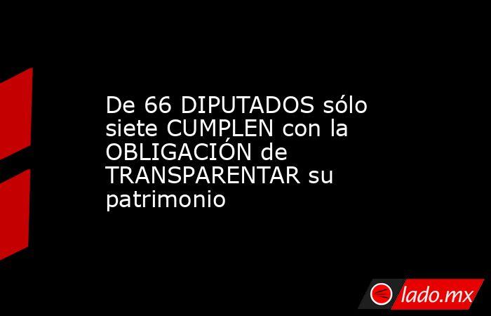 De 66 DIPUTADOS sólo siete CUMPLEN con la OBLIGACIÓN de TRANSPARENTAR su patrimonio. Noticias en tiempo real