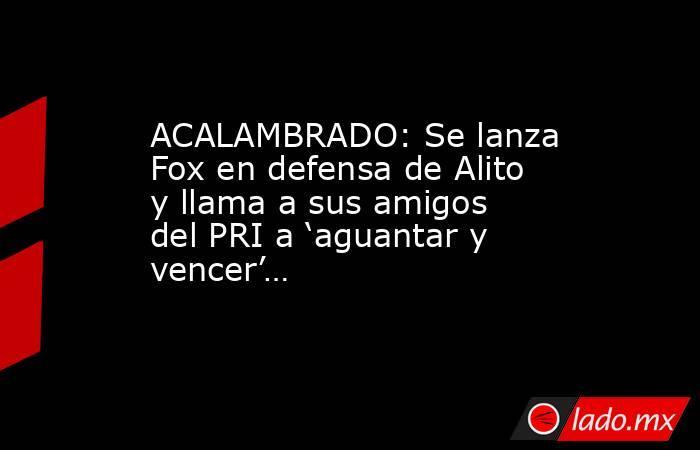 ACALAMBRADO: Se lanza Fox en defensa de Alito y llama a sus amigos del PRI a 'aguantar y vencer'…. Noticias en tiempo real