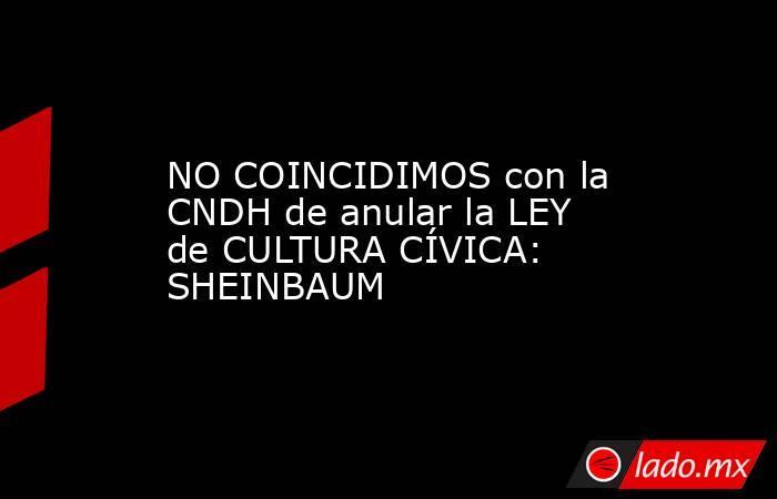 NO COINCIDIMOS con la CNDH de anular la LEY de CULTURA CÍVICA: SHEINBAUM. Noticias en tiempo real