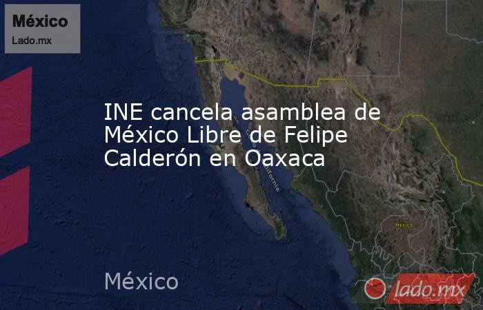 INE cancela asamblea de México Libre de Felipe Calderón en Oaxaca. Noticias en tiempo real