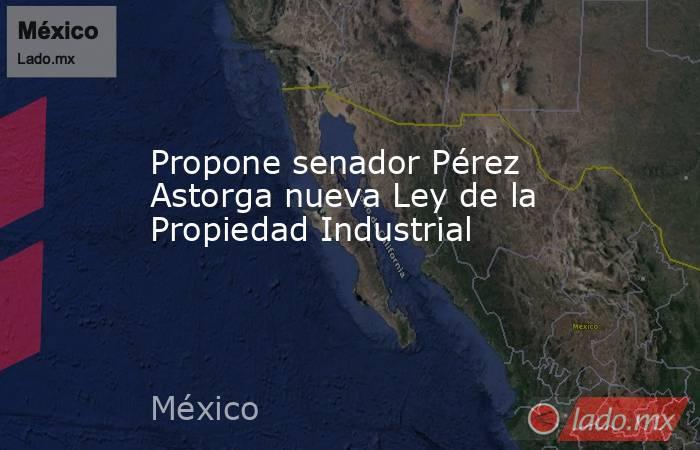 Propone senador Pérez Astorga nueva Ley de la Propiedad Industrial. Noticias en tiempo real