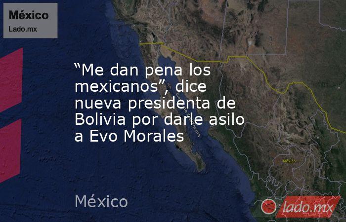 """""""Me dan pena los mexicanos"""", dice nueva presidenta de Bolivia por darle asilo a Evo Morales. Noticias en tiempo real"""