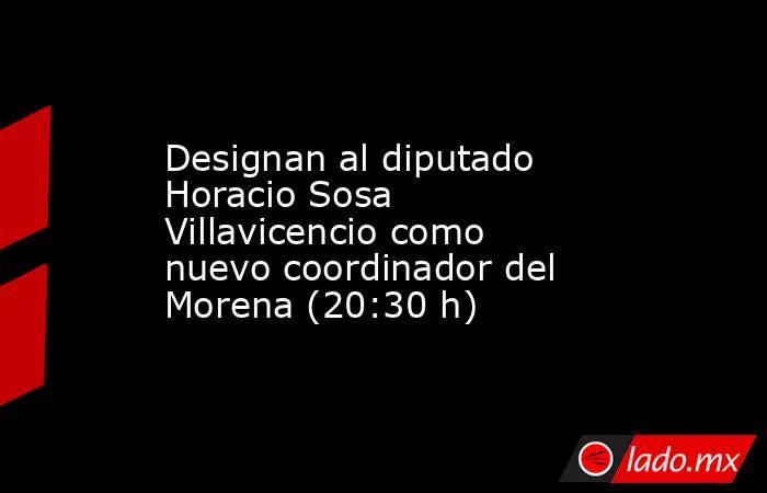 Designan al diputado Horacio Sosa Villavicencio como nuevo coordinador del Morena (20:30 h). Noticias en tiempo real
