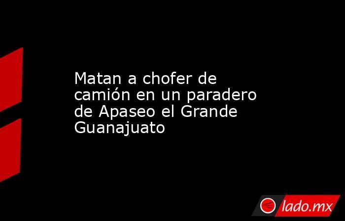 Matan a chofer de camión en un paradero de Apaseo el Grande Guanajuato. Noticias en tiempo real