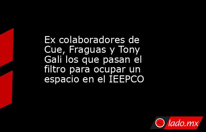 Ex colaboradores de Cue, Fraguas y Tony Gali los que pasan el filtro para ocupar un espacio en el IEEPCO. Noticias en tiempo real