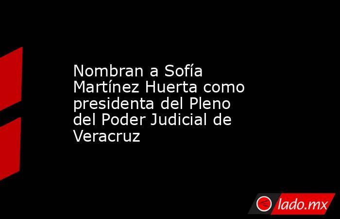Nombran a Sofía Martínez Huerta como presidenta del Pleno del Poder Judicial de Veracruz. Noticias en tiempo real