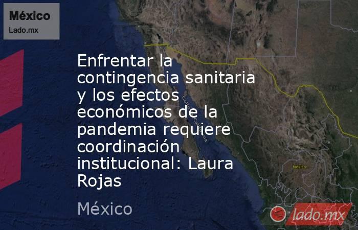 Enfrentar la contingencia sanitaria y los efectos económicos de la pandemia requiere coordinación institucional: Laura Rojas. Noticias en tiempo real