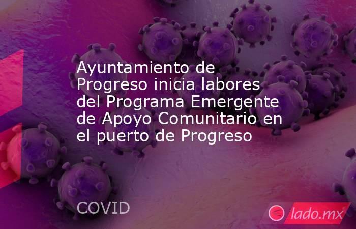 Ayuntamiento de Progreso inicia labores del Programa Emergente de Apoyo Comunitario en el puerto de Progreso. Noticias en tiempo real