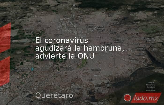 El coronavirus agudizará la hambruna, advierte la ONU. Noticias en tiempo real