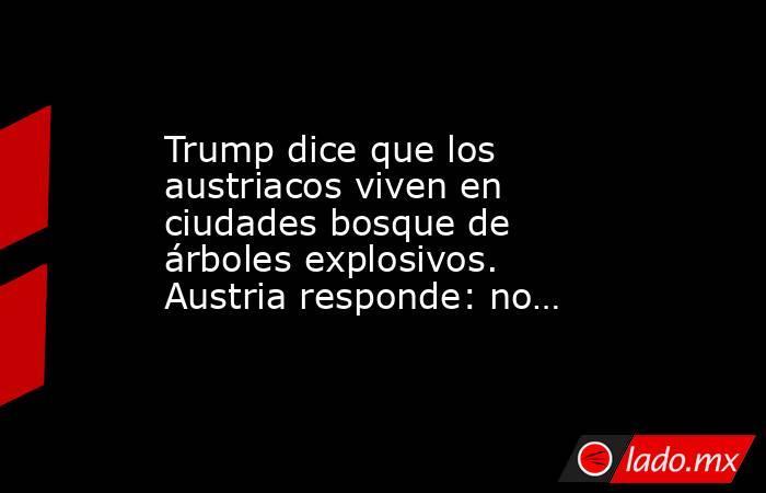 Trump dice que los austriacos viven en ciudades bosque de árboles explosivos. Austria responde: no…. Noticias en tiempo real