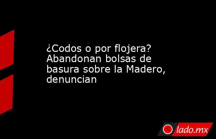 ¿Codos o por flojera? Abandonan bolsas de basura sobre la Madero, denuncian. Noticias en tiempo real